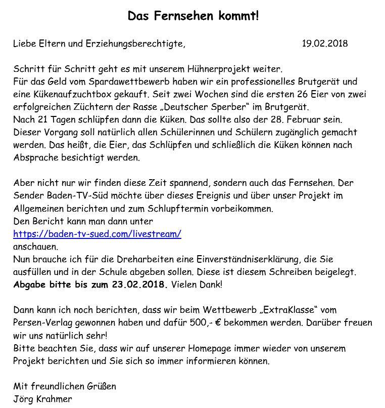 19.02.2018 Elternbrief - Das Fernsehen kommt