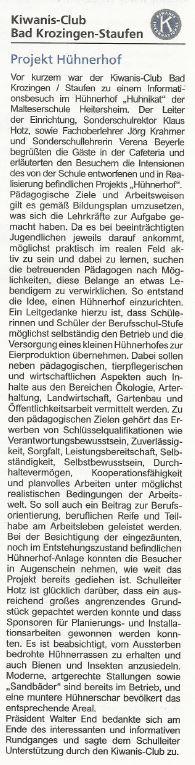 Artikel Kiwanis-Club Hühnerhof Huhnikat