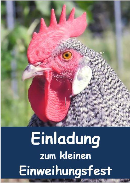 Einladungskarte Einweihungsfest Huhnikat
